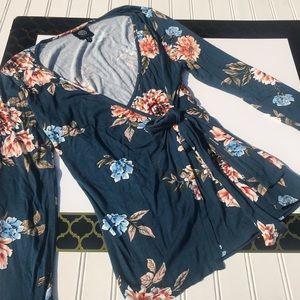 Bobeau Floral Waist Tye Shirt Long Sleeve